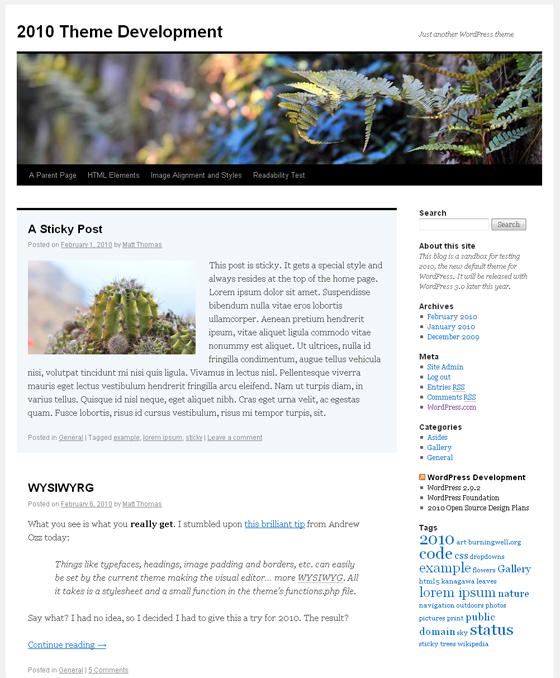 новый шаблон wordpress 3.0
